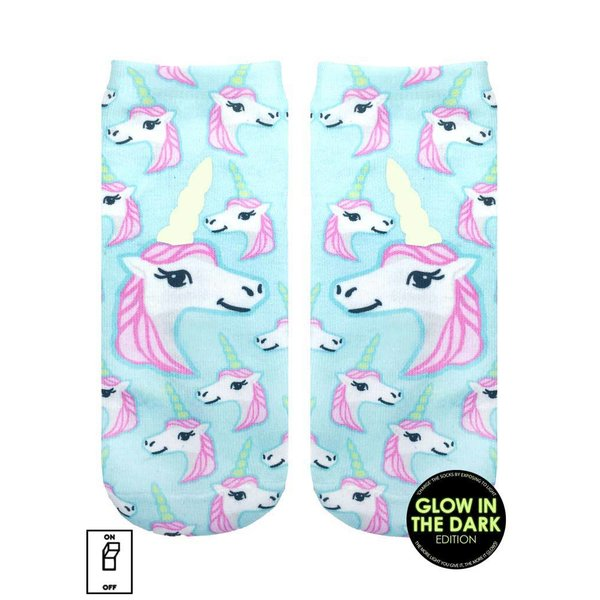 PASTEL UNICORNS GLOW IN THE DARK ANKLE SOCKS