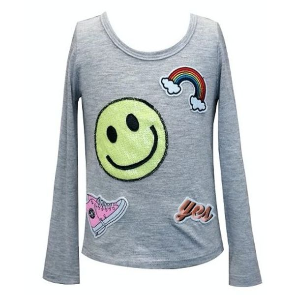 SMILEY PATCHES LONG SLEEVE TEE