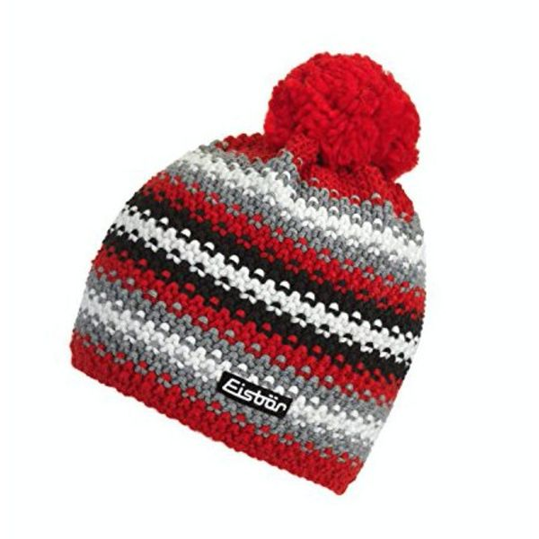 PASSION POMPOM HAT - RED/BLACK - ADULT SIZE 8+