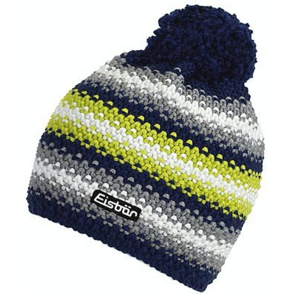 PASSION POMPOM HAT - NAVY/LIME - ADULT SIZE 8+