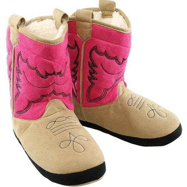 PINK COWBOY BOOTIE SLIPPERS