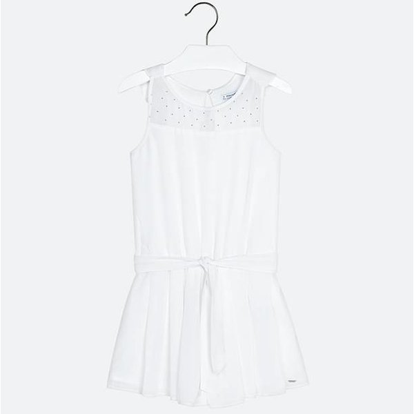 GIRLS CHIFFON ROMPER - WHITE