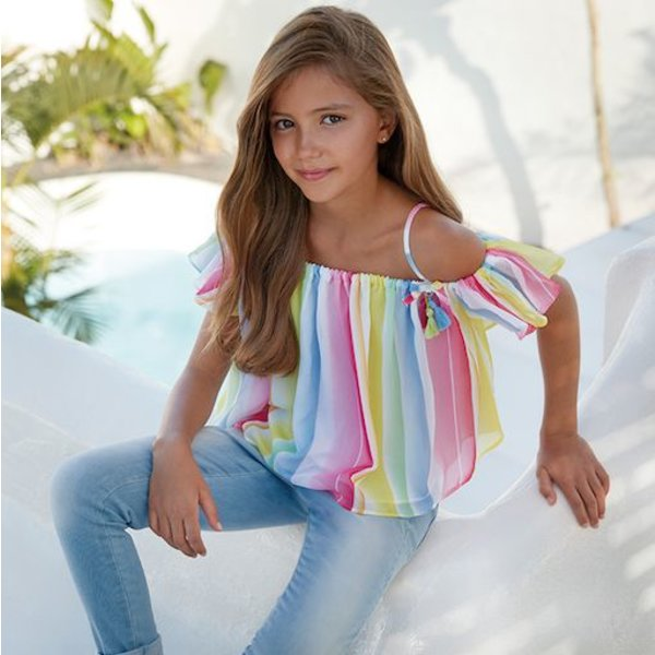 GIRLS STRIPPED BLOUSE - MULTI