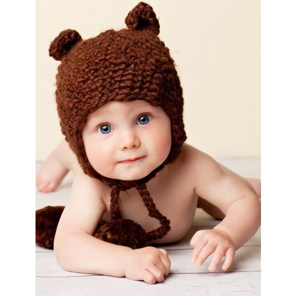 SAM THE BROWN BEAR HAT - 0-6MO