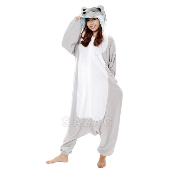 SILVER WOLF ONESIE - ADULT (5FT-6FT)