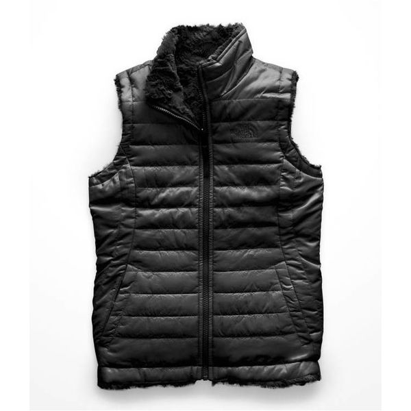 GIRLS REVERSIBLE MOSSBUD SWIRL VEST - TNF BLACK
