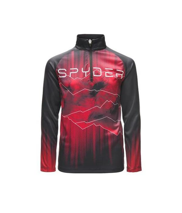 SPYDER BOY'S LIMITLESS RISING ZIP T-NECK - BLACK/RED/BLACK
