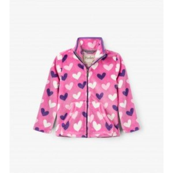 MULTI HEARTS FUZZY FLEECE ZIP UP JACKET