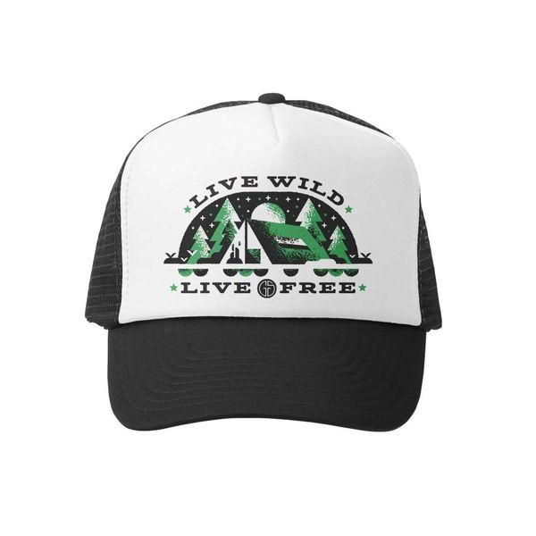 LIVE WILD & FREE TRUCKER HAT - BLACK