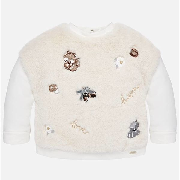 INFANT GIRLS EMBROIDERED FAUX FUR SWEATSHIRT - NATURAL