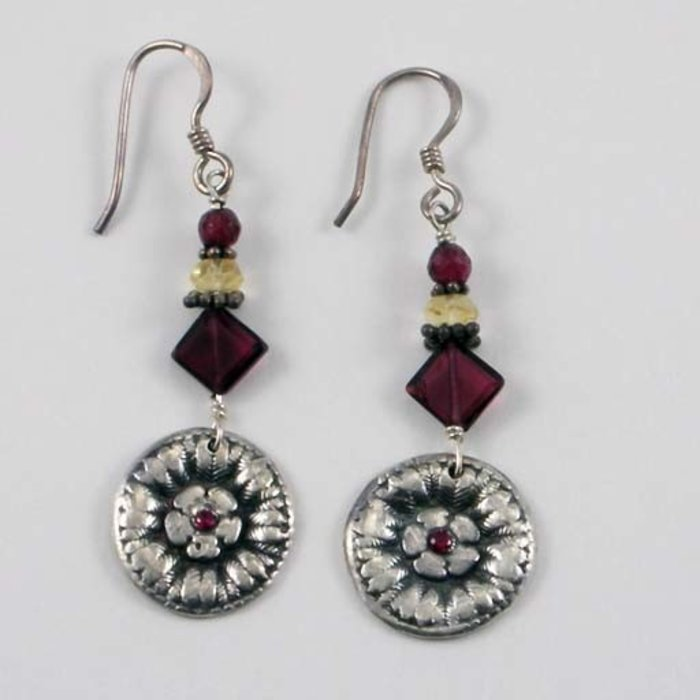 Handmade Silver and Garnet Earrings