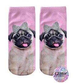 Living Royal Pug With Bow Socks