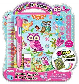 Hot Focus Lace Art Journal Set + Bobble Pen Set - Glow in the Dark, Owl Fox