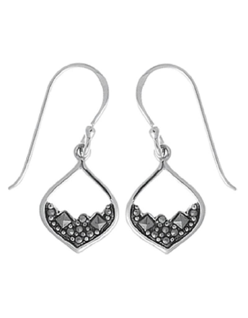 Bom Sterling Silver Marcasite Earrings 12mm