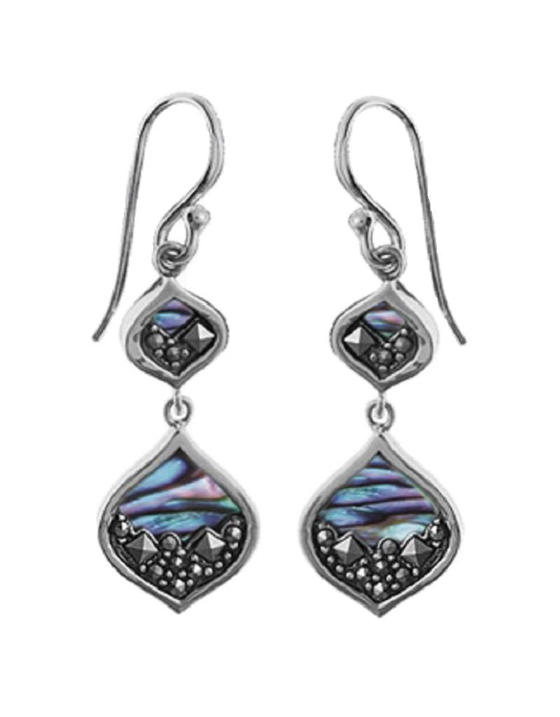 Bom Sterling Silver Marcasite And Abalone Earrings 25mm