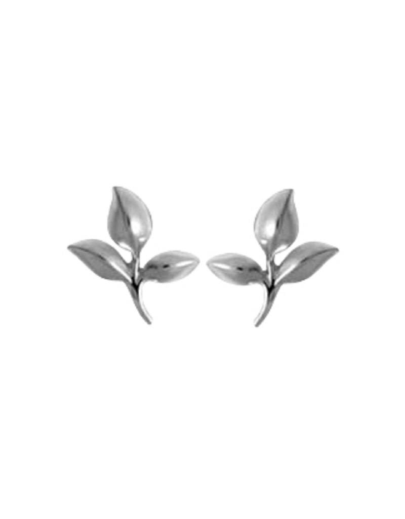 Bom Sterling Silver Leaves Post Earrings 8mm