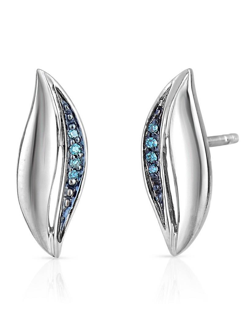 Sterling Silver Swirl With Blue Diamond Post Earrings 0 03ct