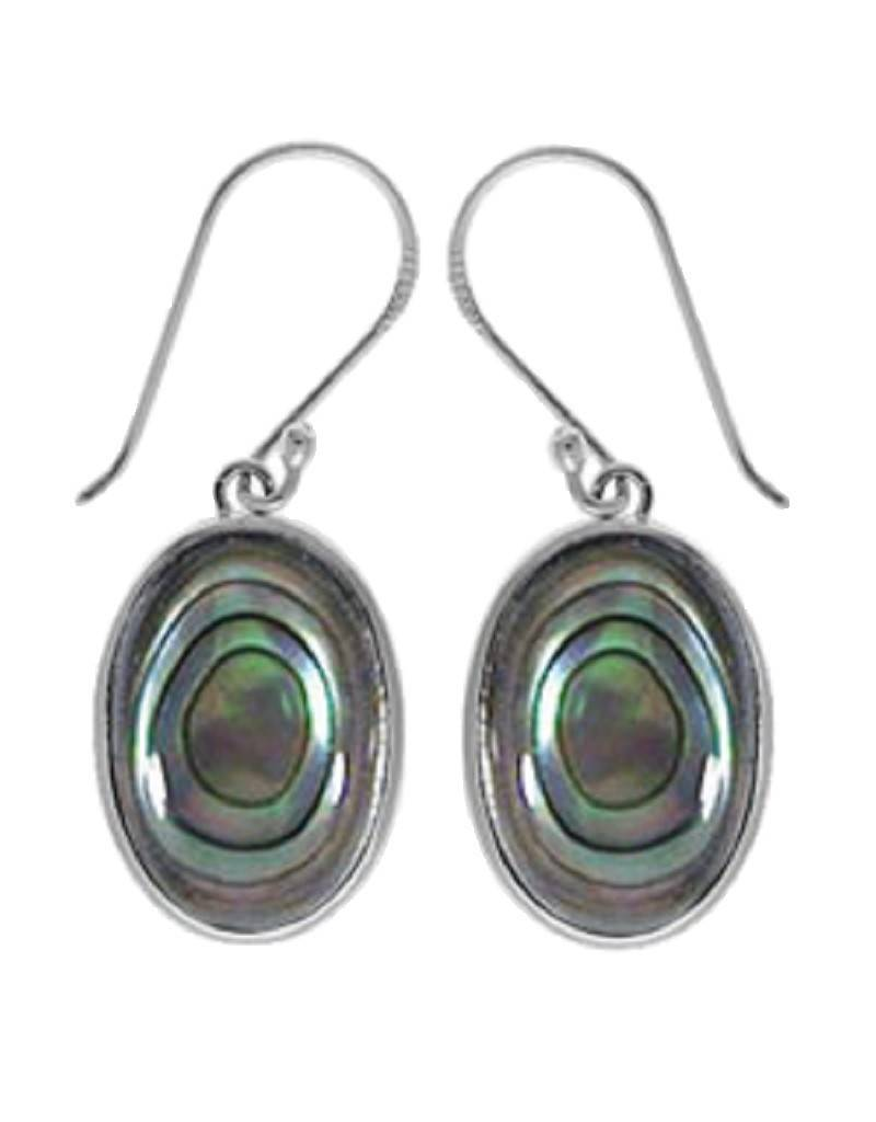 Bom Sterling Silver Oval Abalone Earrings 17mm