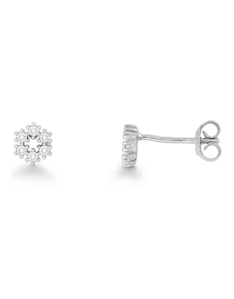 Cla Sterling Silver Snowflake Cubic Zirconia Stud Earrings 6mm