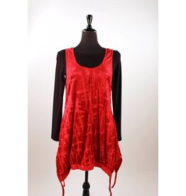 Lousje & Bean Velvet Tank Jumper- Red & Chocolate