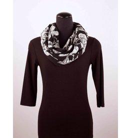 L&B- Black leaf infinity scarf