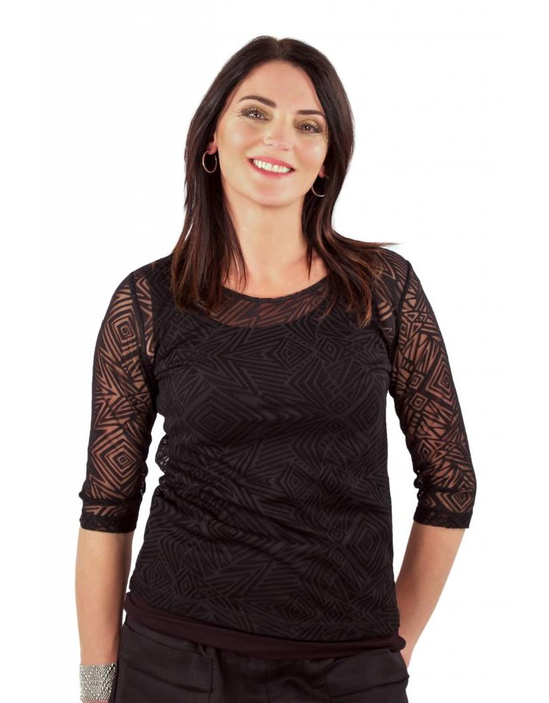 L&B- Mesh Top Geometric Black
