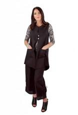 L&B- Linen Button Vest Blk