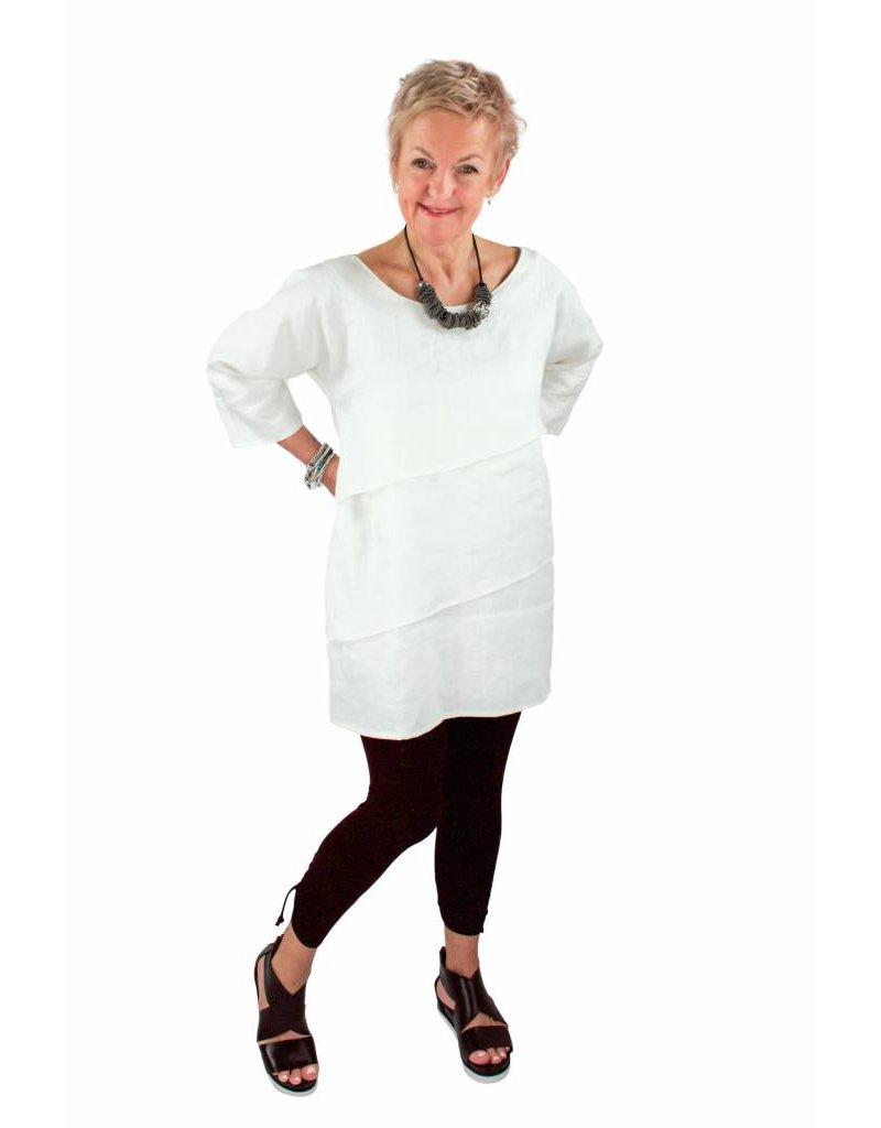 L&B- Sofia Dress in White Linen