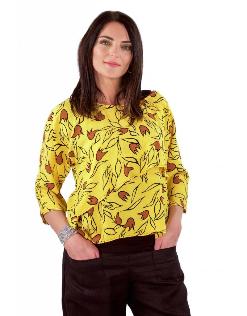 L&B- Sofia Top in Yellow Tulips