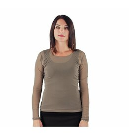 Lousje & Bean Mesh Top in Taupe, Grey & Black