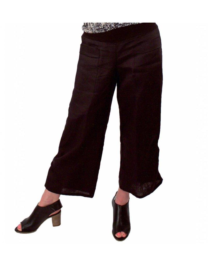 L&B- Emmy Tie Pants- Blk Linen