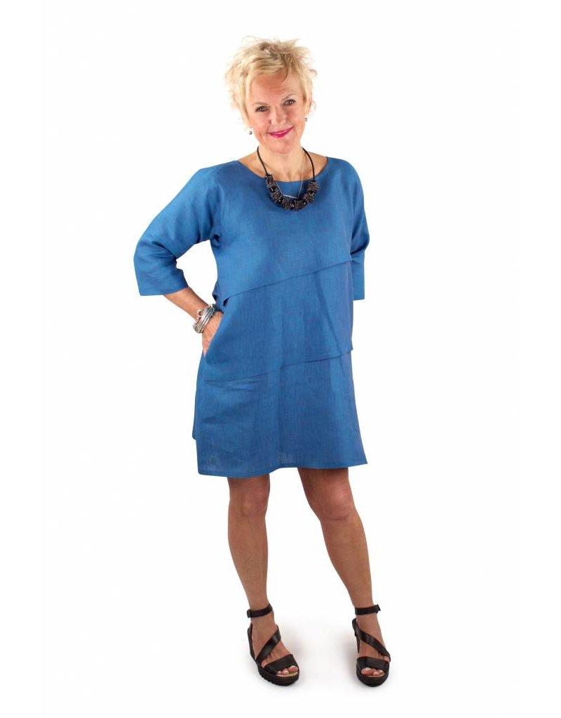 L&B- Sofia Dress in Azure Linen