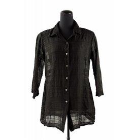 Shaped 3/4 Sleeve Shirt- Blk