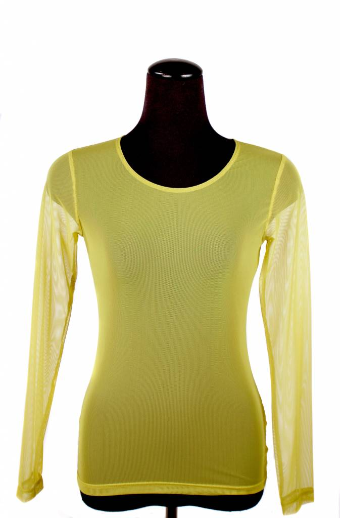 Lousje & Bean L&B- Mesh Top LS in Chartreuse