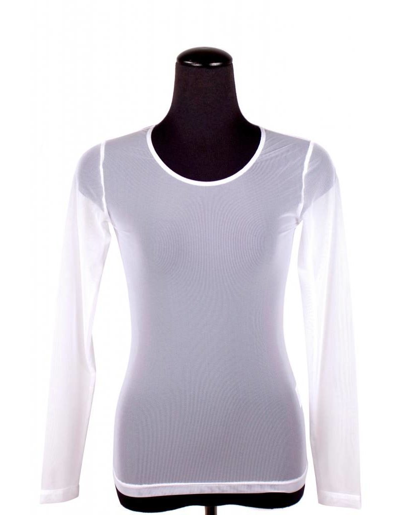 Lousje & Bean L&B- Mesh Top LS in Wht