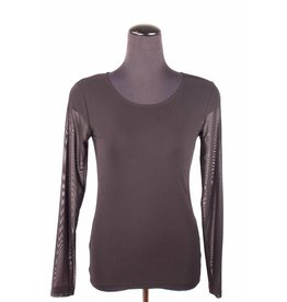 Lousje & Bean L&B- Mesh Top LS in Blk- Sizes XS & XL only