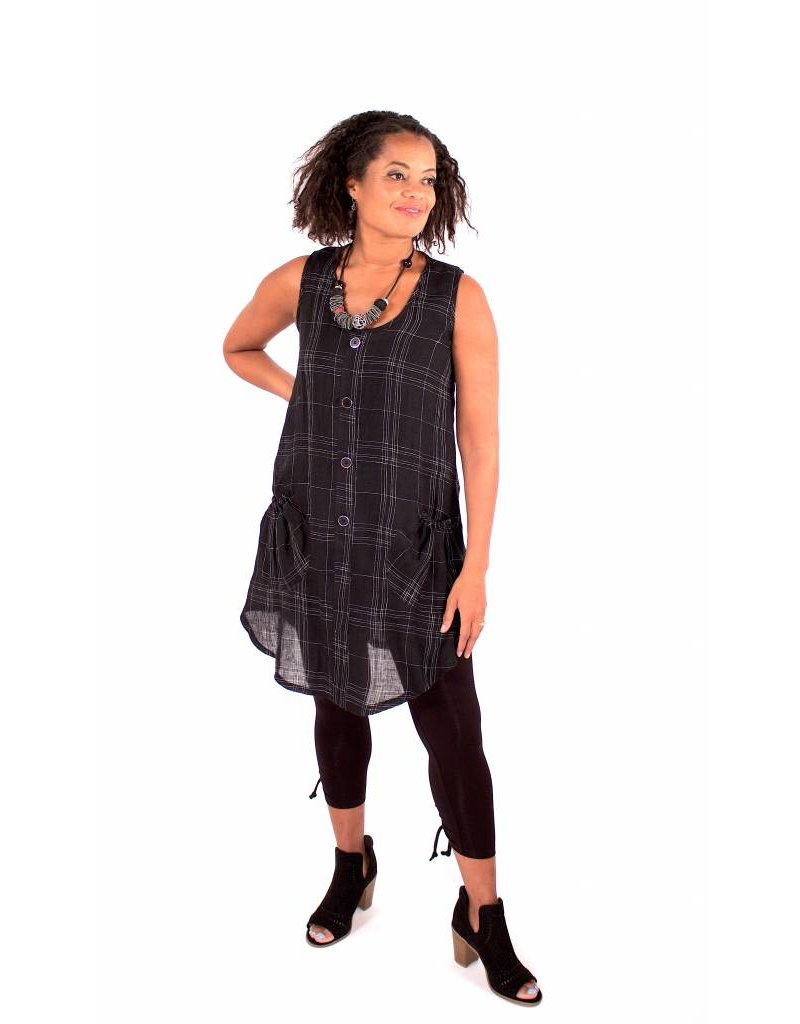 Lousje & Bean L&B- Button Tunic|B/W Linen