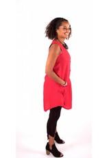 Lousje & Bean L&B- Button Tunic|Red Linen
