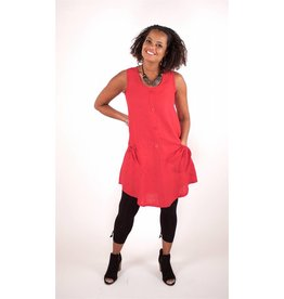 Lousje & Bean L&B- Button Tunic|Red Linen