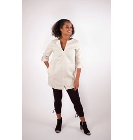 Lousje & Bean L&B- Cross Linen Tunic|Oatmeal