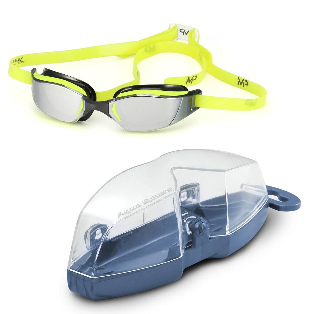 AquaSphere XCEED Goggle, mirrored lens, Yellow & Black