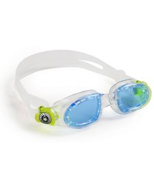 MOBY KID Goggle, blue lens, transparent w/yellow buckle