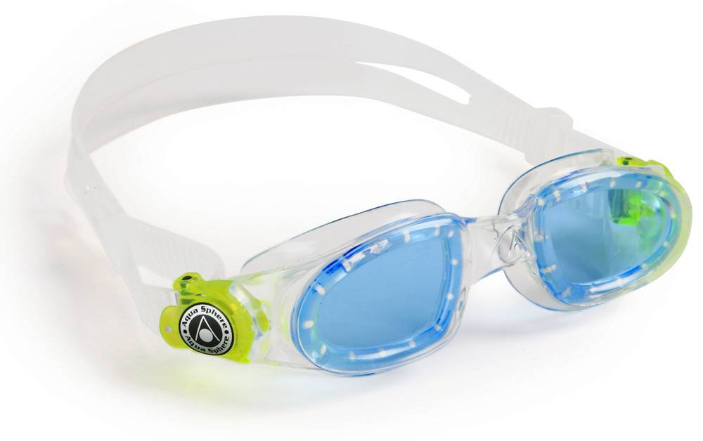 AquaSphere MOBY KID Goggle, blue lens, transparent w/yellow buckle