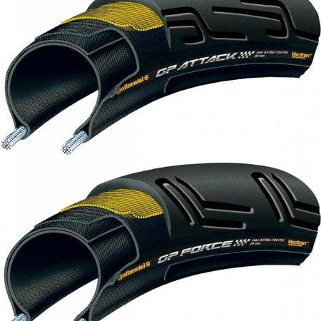 Continental Grand Prix Attack/Force Combo 700 X 22/24 Black-BW + Black Chili