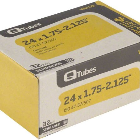 """Q-Tubes Q-Tubes Value Series Tube with Low Lead Schrader Valve: 24"""" x 1.75-2.125"""""""