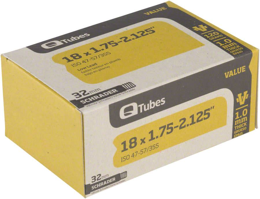 """Q-Tubes Q-Tubes Value Series Tube with Low Lead Schrader Valve: 18"""" x 1.75-2.125"""""""
