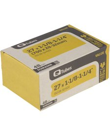 """Q-Tubes Value Series Tube with Long (48mm) Schrader Valve: 27"""" x 1-1/8-1-1/4"""" (700 x 28-32mm)"""