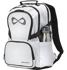Nfinity Classic Luxe Back Packs White/Black Rhinestone Logo