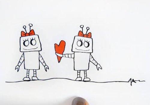 Julie Ann Art Girl Robot Card