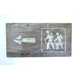 Salvage Signs Hiker with Arrow Sign
